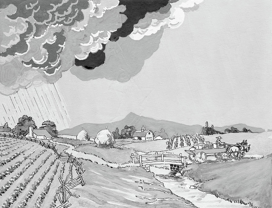 Horizontal Painting - 1930s Illustration Of Rural Farm Land by Vintage Images