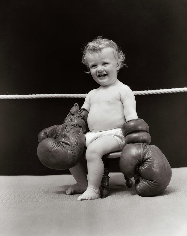 Vertical Photograph - 1930s Smiling Baby Seated On Stool by Vintage Images