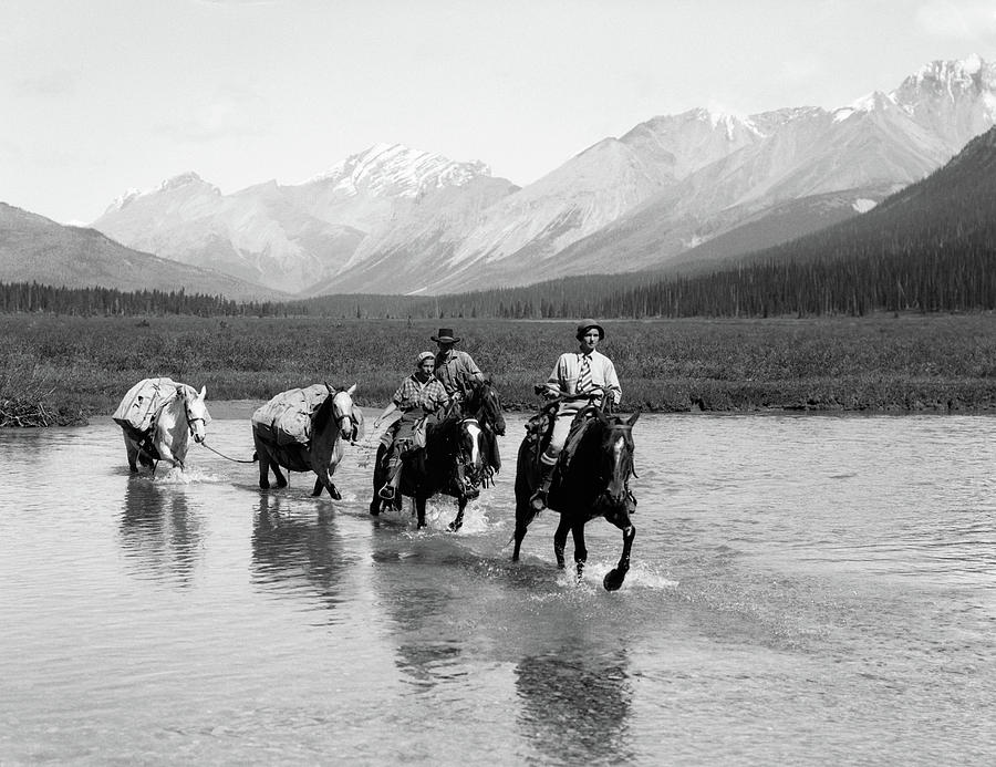 Horizontal Photograph - 1930s Two Women Man Riding Horseback by Animal Images