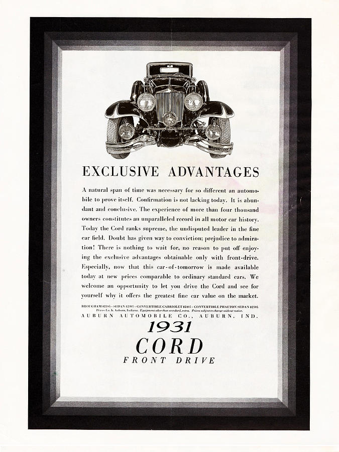Vintage Car Ads Drawing - 1931 Cord Cabriolet L 29 Vintage Ad by Jack Pumphrey