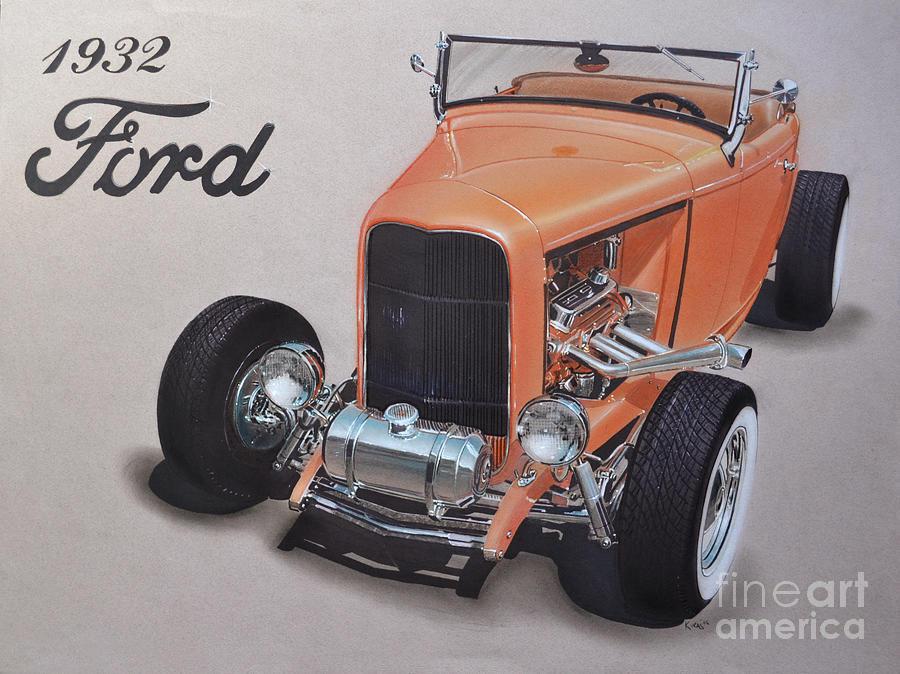 Car Drawing - 1932 Ford by Paul Kuras