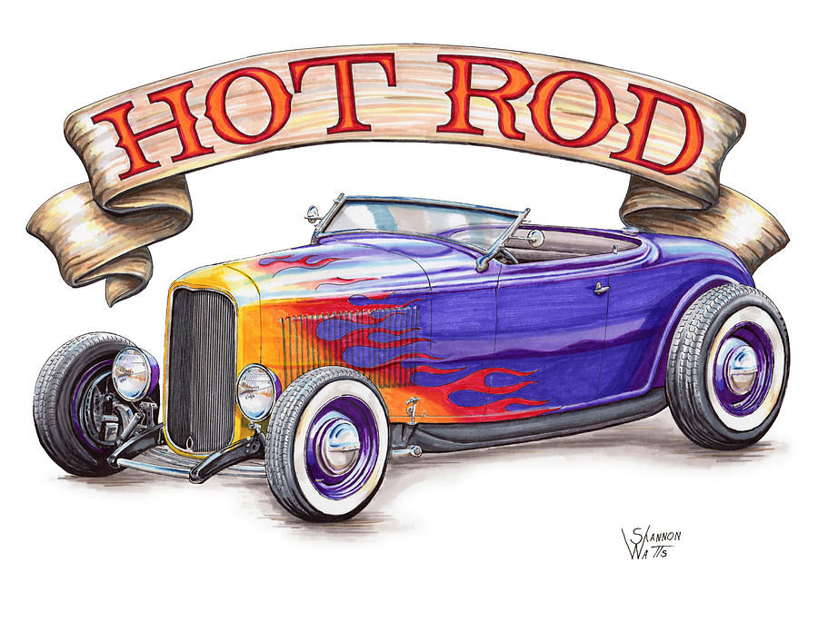 It's just a graphic of Dramatic Drawing Of Hot Rods
