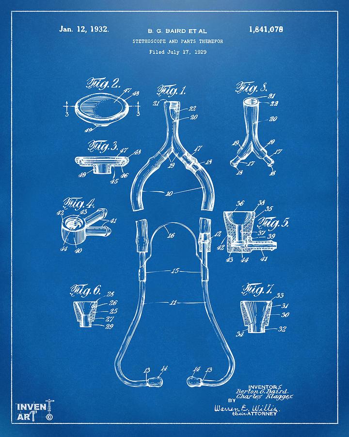 Stethoscope Digital Art - 1932 Medical Stethoscope Patent Artwork - Blueprint by Nikki Marie Smith