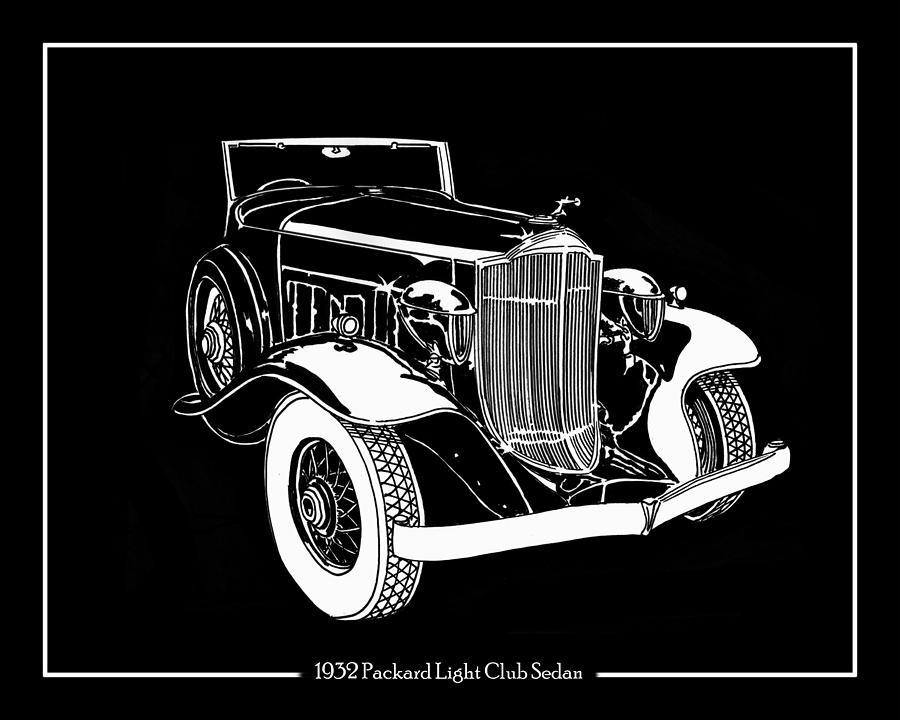 1932 Packard Light Eight Drawing - 1932 Packard Light Eight by Jack Pumphrey