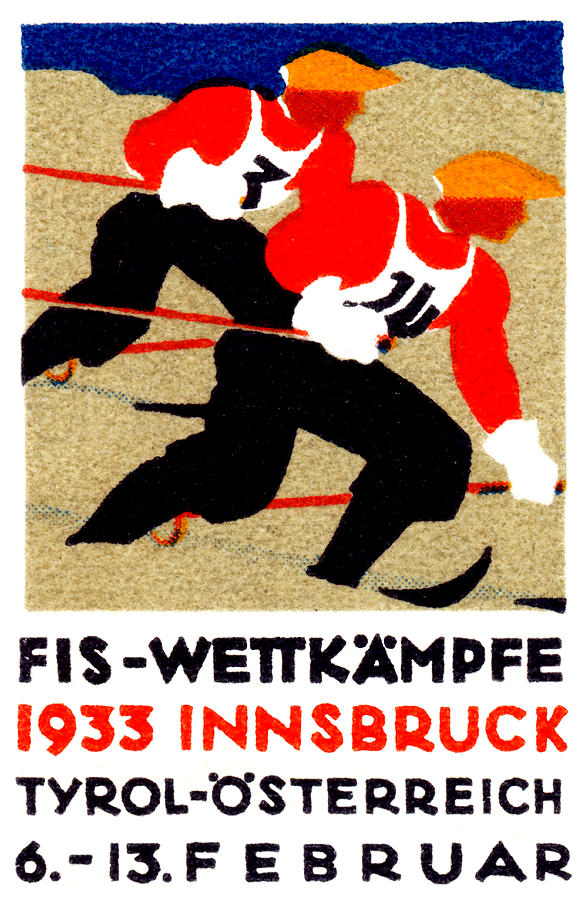 Vintage Painting - 1933 Austrian Ski Race Poster by Historic Image