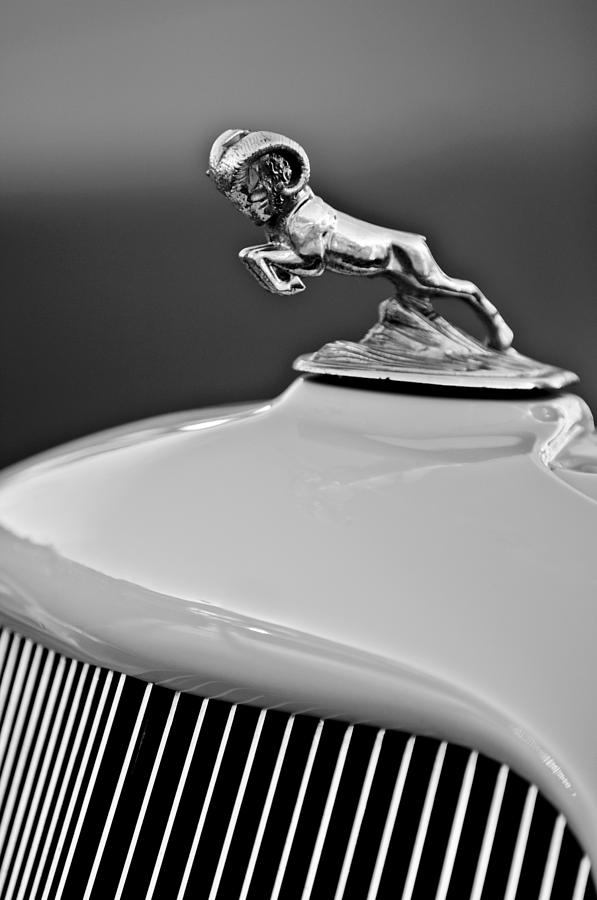 Black And White Photograph - 1933 Dodge Ram Hood Ornament 2 by Jill Reger