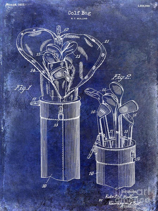 Golf Bag Photograph - 1933 Golf Bag Patent Drawing Blue by Jon Neidert