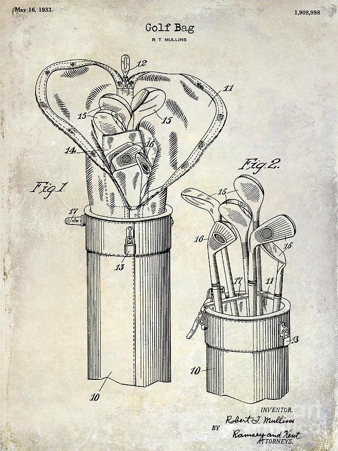 Golf Bag Photograph - 1933 Golf Bag Patent Drawing by Jon Neidert