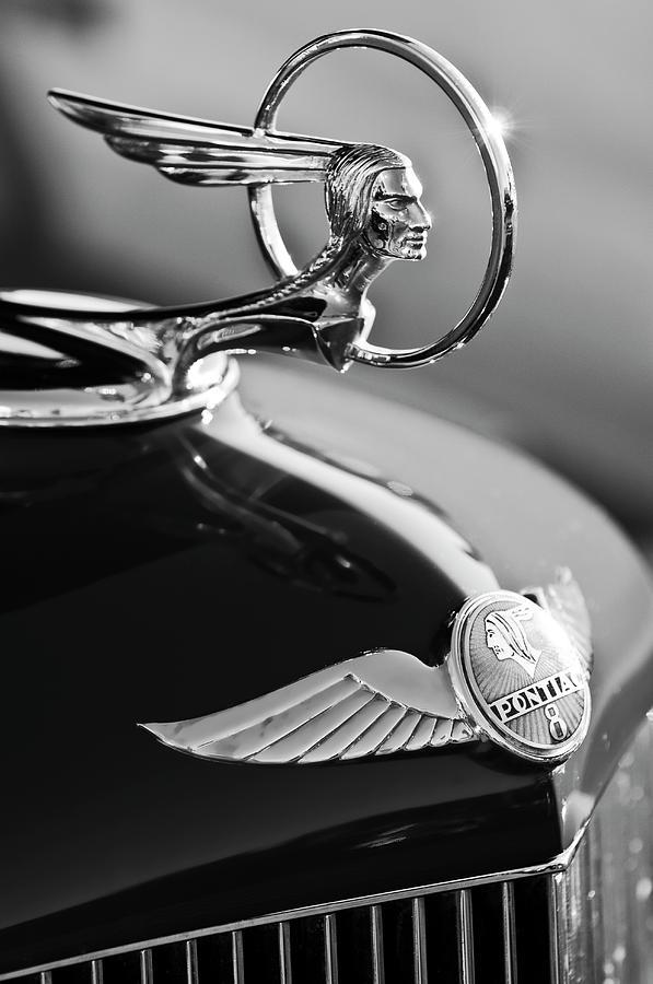 Black And White Photograph - 1933 Pontiac Hood Ornament 4 by Jill Reger