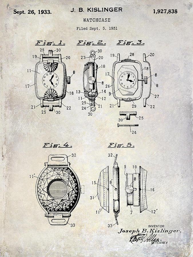 1933 Photograph - 1933 Watch Case Patent Drawing  by Jon Neidert