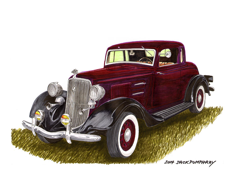 Watercolor Painting By Jack Pumphrey Of The 1934 Plymouth Pe Model Was Considered The Best Engineered Car In Its Class Painting - 1934 Plymouth P E Coupe by Jack Pumphrey
