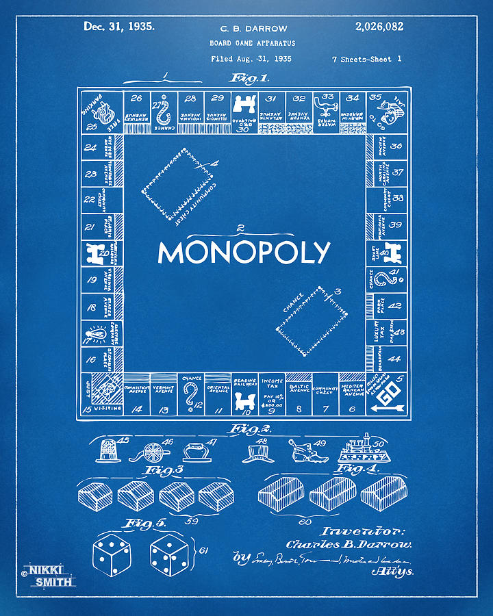 1935 monopoly game board patent artwork blueprint drawing by nikki monopoly drawing 1935 monopoly game board patent artwork blueprint by nikki marie smith malvernweather Image collections