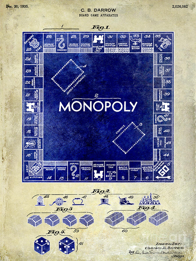 1935 Photograph - 1935 Monopoly Patent Drawing 2 Tone  by Jon Neidert