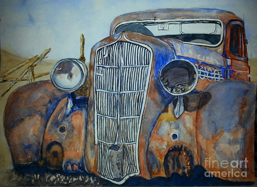 Car Painting - 1935 Plymouth Coupe by DJ Laughlin