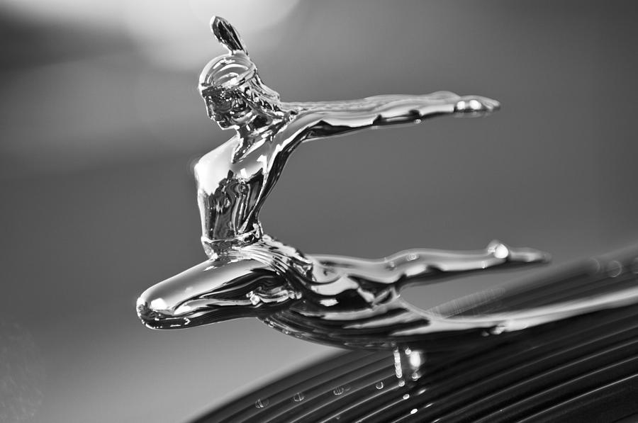 Black And White Photograph - 1935 Pontiac Sedan Hood Ornament 4 by Jill Reger