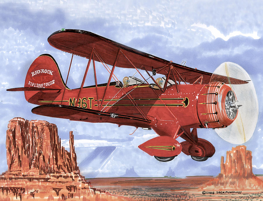 Monument Valley Bi-plane Painting by Jack Pumphrey