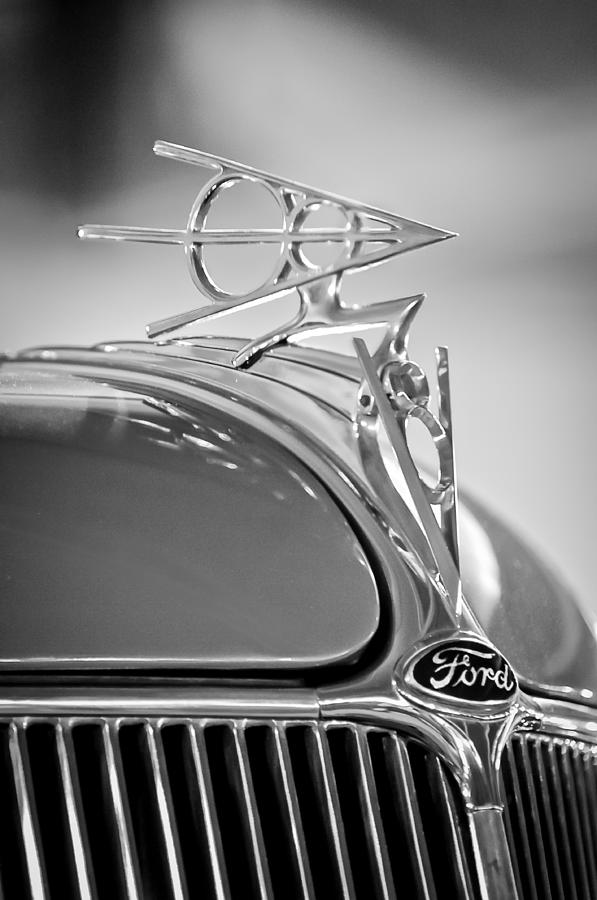 Black And White Photograph - 1936 Ford Deluxe Roadster Hood Ornament 2 by Jill Reger