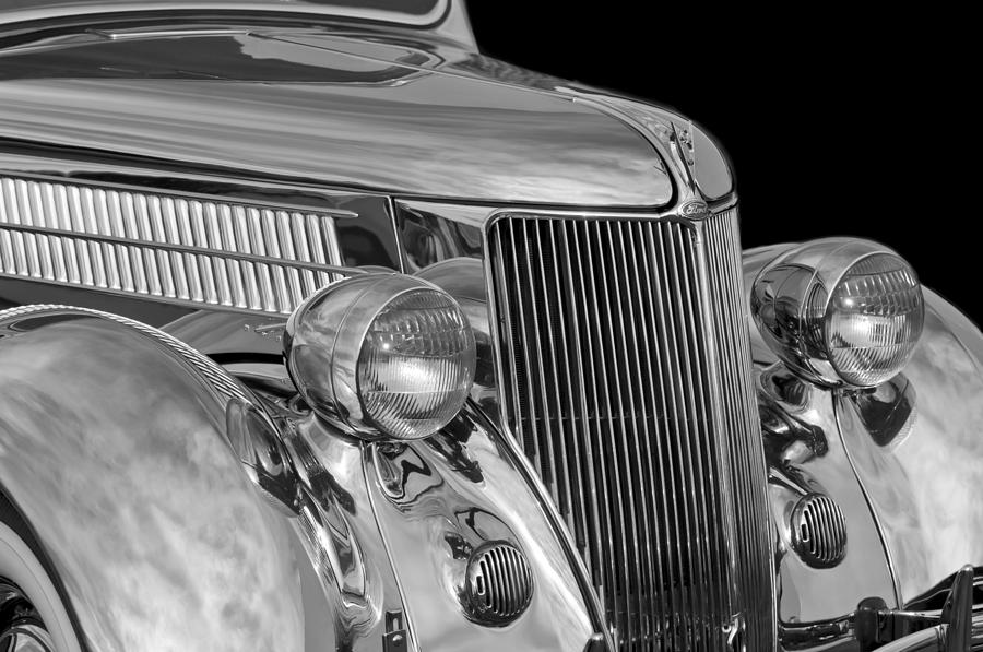 Black And White Photograph - 1936 Ford - Stainless Steel Body by Jill Reger