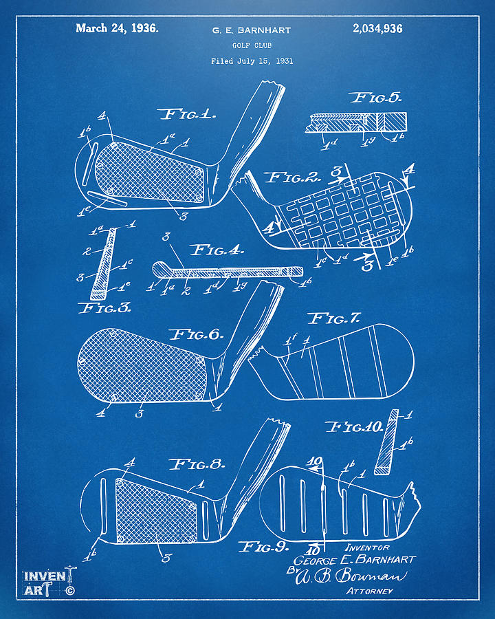 Golf Drawing - 1936 Golf Club Patent Blueprint by Nikki Marie Smith