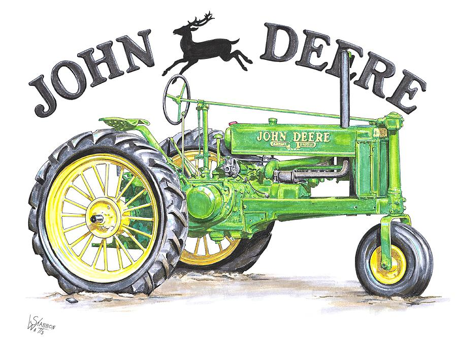 John Deere Tractor Cartoon Drawing : John deere drawing by shannon watts
