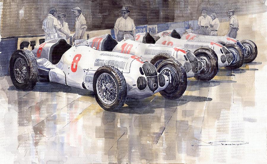 Watercolour Painting - 1937 Monaco Gp Team Mercedes Benz W125 by Yuriy  Shevchuk