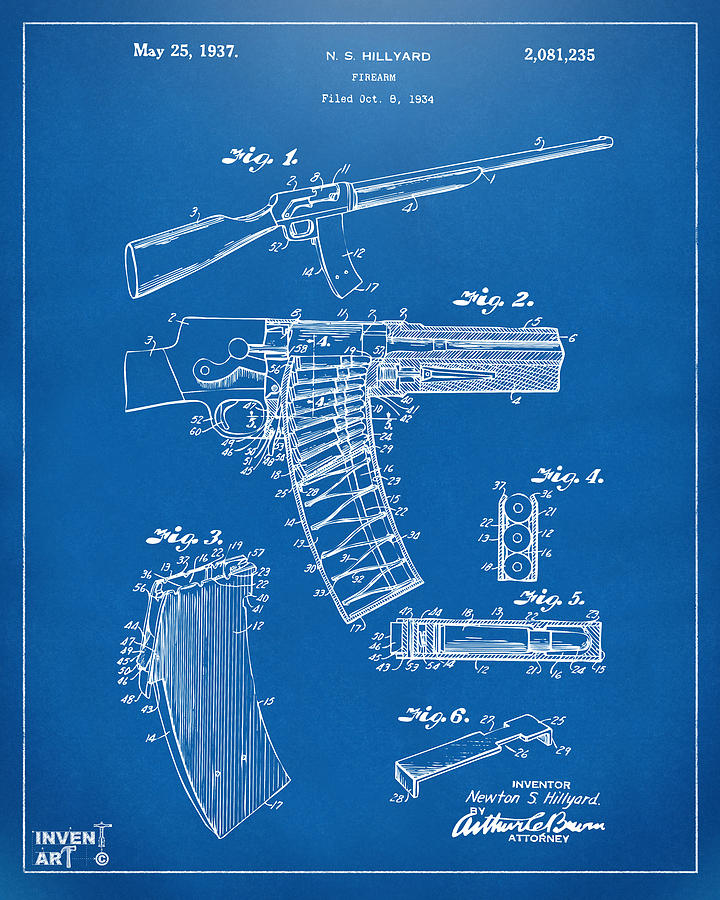 Model 8 Digital Art - 1937 Police Remington Model 8 Magazine Patent Artwork - Blueprin by Nikki Marie Smith
