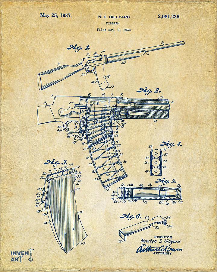 Model 8 Drawing - 1937 Police Remington Model 8 Magazine Patent Artwork - Vintage by Nikki Marie Smith