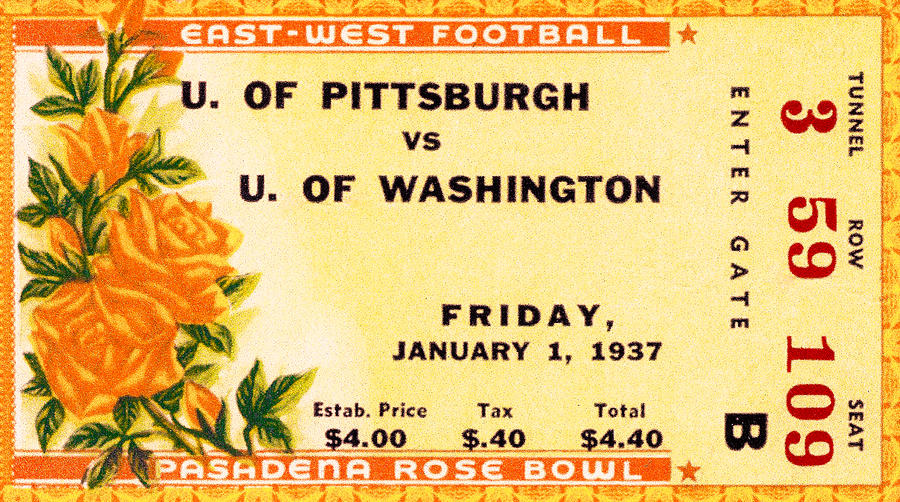 Ticket Stub Photograph - 1937 Rose Bowl Ticket by David Patterson