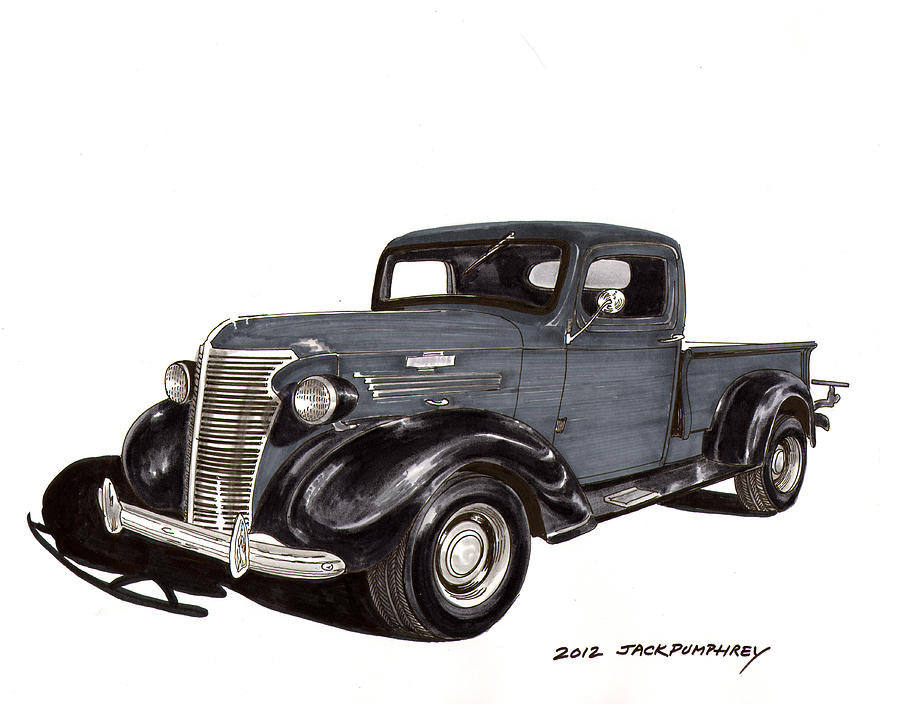 Chevy Pickup Trucks Drawing - 1938 Chevy Pickup by Jack Pumphrey