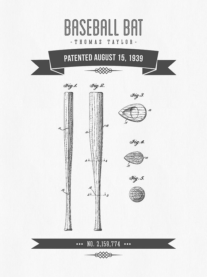 1939 Baseball Bat Patent Drawing Digital Art