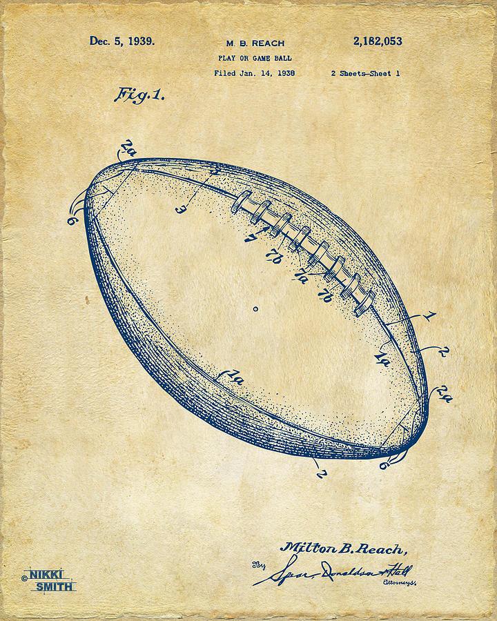 Fotball Digital Art - 1939 Football Patent Artwork - Vintage by Nikki Marie Smith