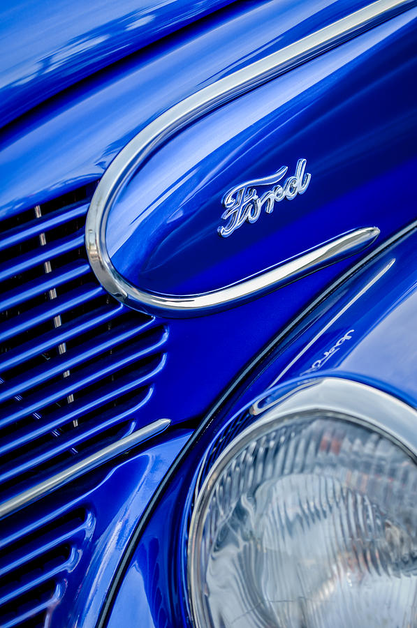 Classic Car Photograph - 1939 Ford Woody Wagon Side Emblem by Jill Reger