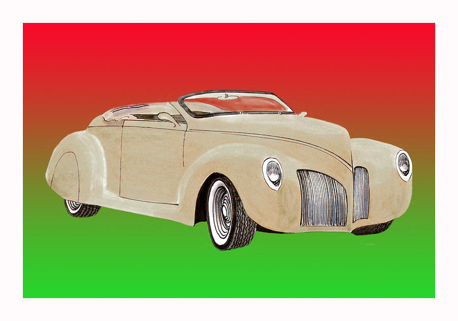 1939 Lincoln Zephyr Speedster Painting by Jack Pumphrey