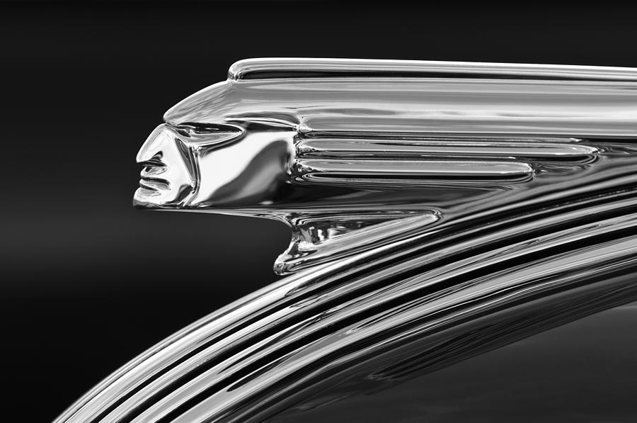 Black And White Photograph - 1939 Pontiac Silver Streak Hood Ornament 3 by Jill Reger