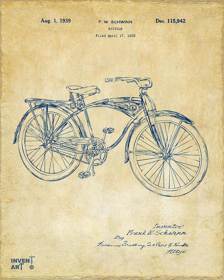 Bicycle Digital Art - 1939 Schwinn Bicycle Patent Artwork Vintage by Nikki Marie Smith