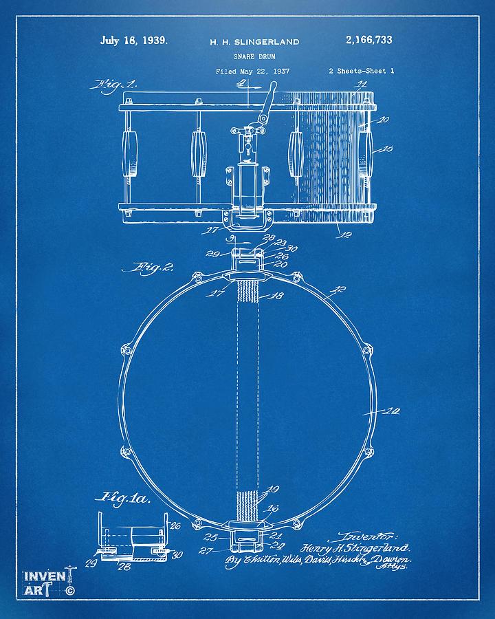 Drum Digital Art - 1939 Snare Drum Patent Blueprint by Nikki Marie Smith