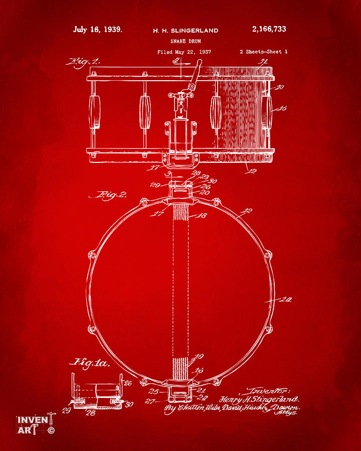 Drum Digital Art - 1939 Snare Drum Patent Red 1939 by Nikki Marie Smith