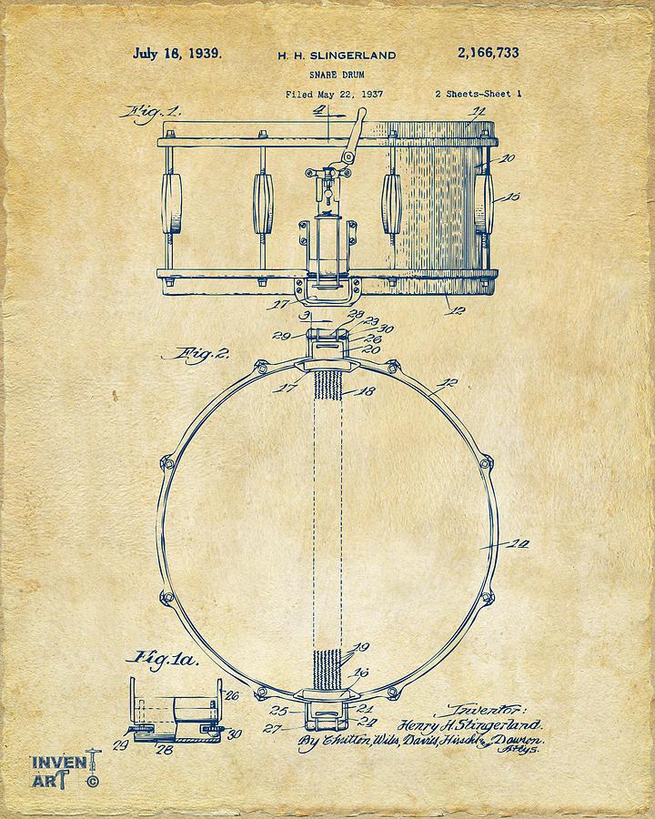 Drum Digital Art - 1939 Snare Drum Patent Vintage by Nikki Marie Smith