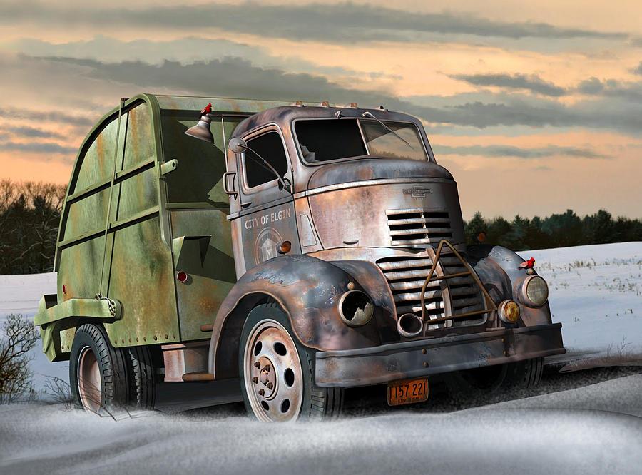 Chevy 2015 Trucks 1940 Gmc Garbage Truck Digital Art by Stuart Swartz