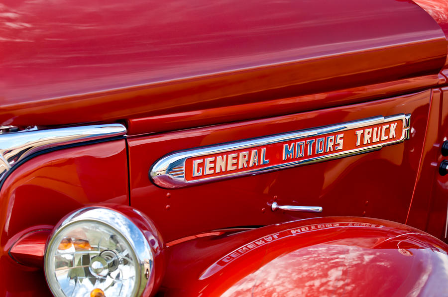 Emblem Photograph - 1940 Gmc Side Emblem by Jill Reger