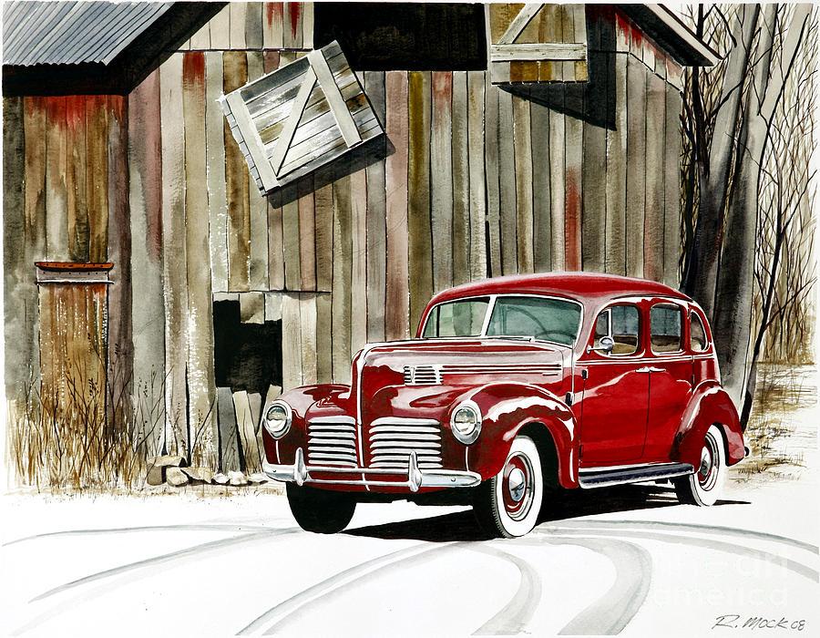 Hudson Painting - 1940 Hudson And Barn by Rick Mock