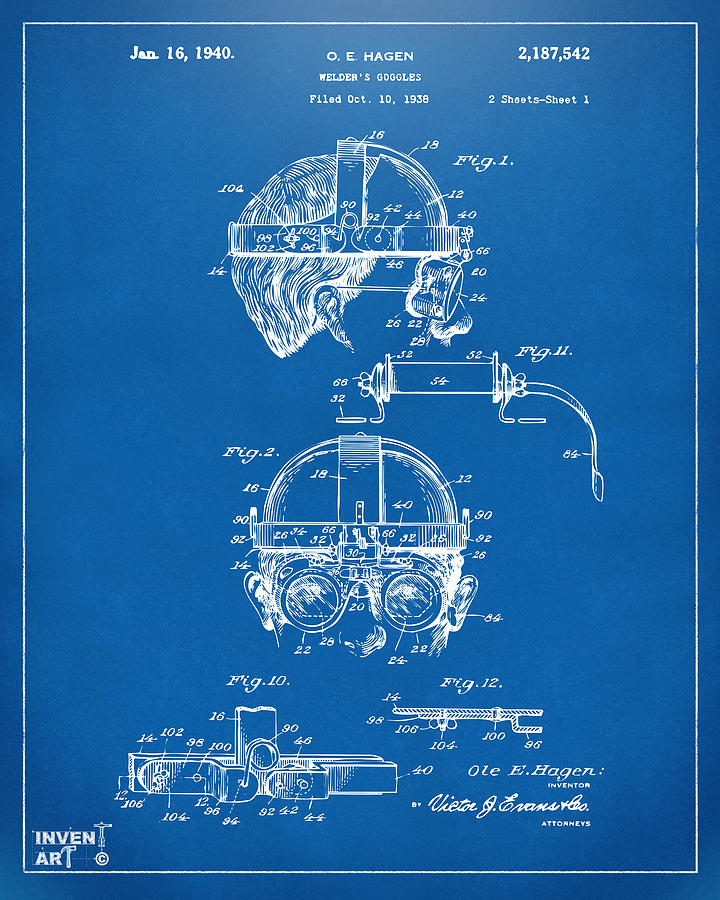 1940 welders goggles patent artwork blueprint digital art by nikki steampunk digital art 1940 welders goggles patent artwork blueprint by nikki marie smith malvernweather Image collections