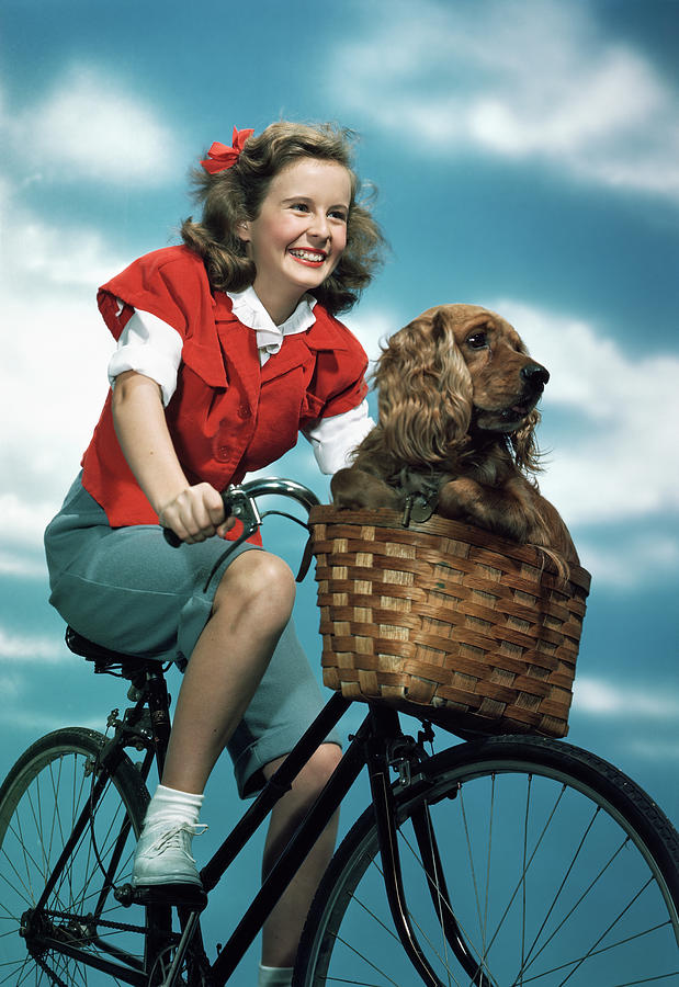 Vertical Photograph - 1940s 1950s Smiling Teen Girl Riding by Animal Images