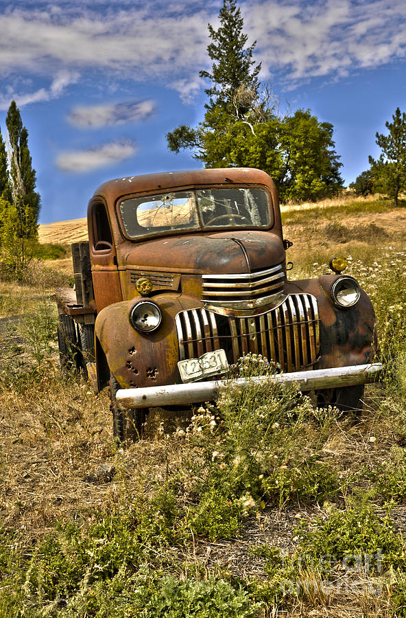 Old Truck Photograph - 1940s Chevy Truck by Camille Lyver