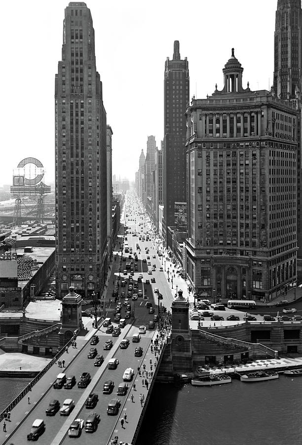 Vertical Photograph - 1940s Downtown Skyline Michigan Avenue by Vintage Images