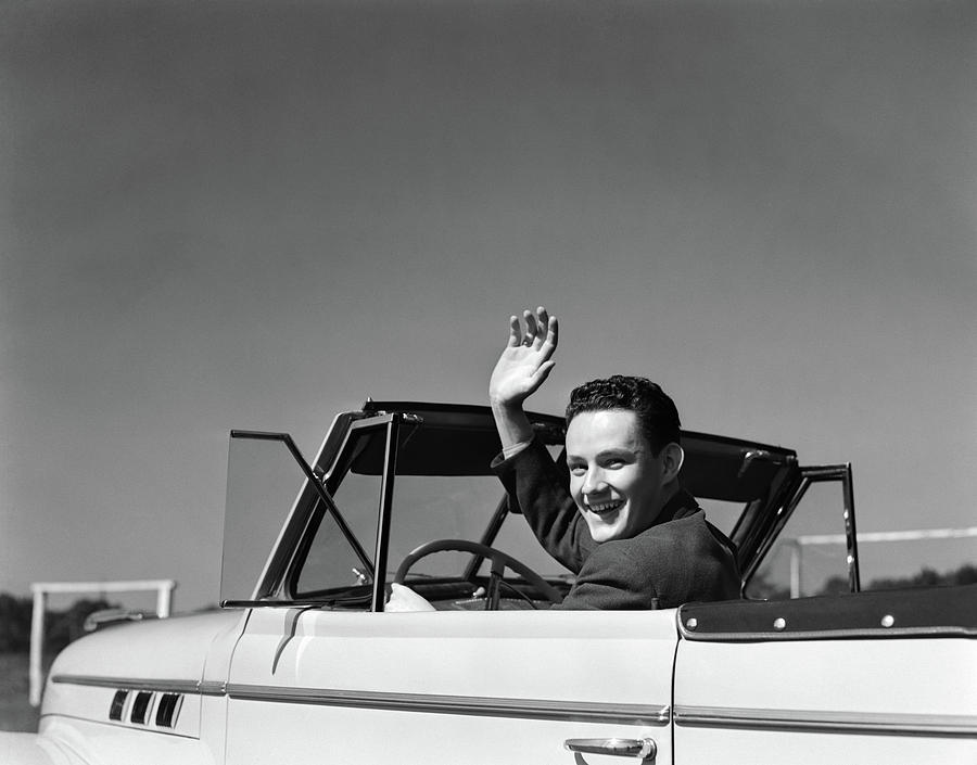 Horizontal Photograph - 1940s Smiling Young Man Driving by Vintage Images