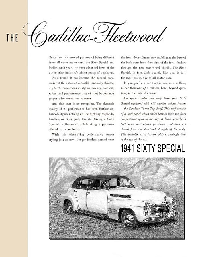 1941 Cadillac Fleetwood Sedan Vintage Ad Drawing by Jack Pumphrey