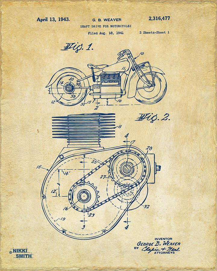 1941 Indian Motorcycle Patent Artwork Vintage Digital