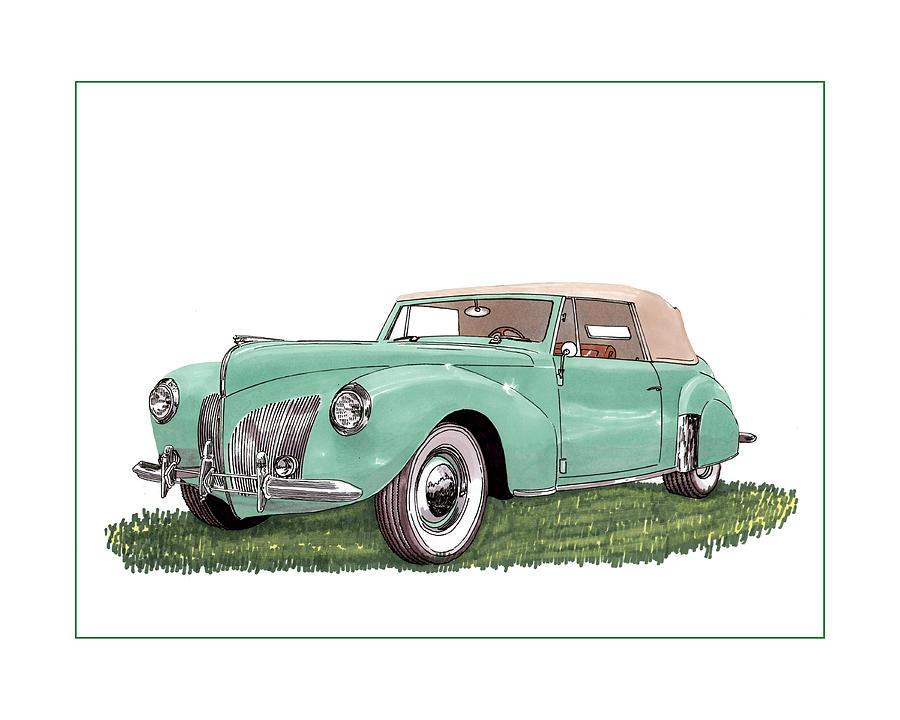 1941 Lincoln V-12 Continental Drawing by Jack Pumphrey