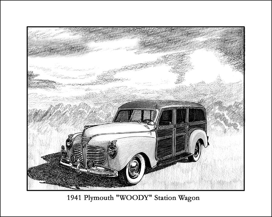 Chrysler Drawing - 1941 Plymouth Woody by Jack Pumphrey